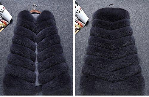 FOLOBE Womens ' Winter warm Faux Pelz Vest Jacke Dunkelgrau