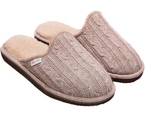 Estro pantofole donna ciabatte lana donna casa pantofola ciabatta suola di memoria cute (36, beige/lana)