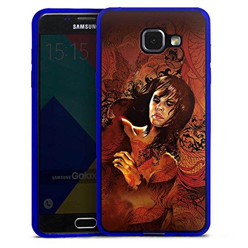 DeinDesign Slim Case kompatibel mit Samsung Galaxy A5 Duos 2016 Silikon Hülle Ultra Dünn Schutzhülle Frau Woman Face - Blue Womens Grafik