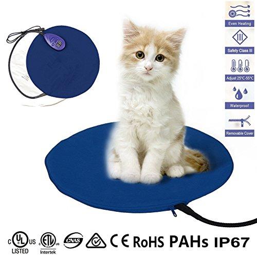 JOYOOO 12W Heizmatte für Haustiere,7 Temperatur Einstellbar zwischen Wasserdicht Wärmematte Wärmer Beheizte Pet Mat Haustier Katze Hund Wärmematte Haustier für Hunde,Katzen,Kaninchen(Blau)