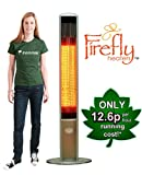 Firefly 1.8kW Halogen Bulb Electric Infrared Slimline Outdoor Patio Heater with Remote Control Height 1.6M