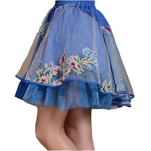 [Elegant Blue] Ethnic Multilayer Short Skirt Bust Skirt Tulle Skirt,Asian M (Ziehen Auf Rock Sie Seide)