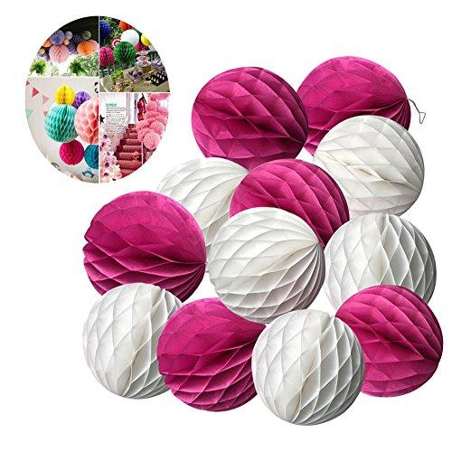 SwirlColor Elegant Honeycomb Flower Ball Pull Paper Flower Balls for Wedding Garden Party Outdoor Decoration 12 Pcs - Hot Pink, White