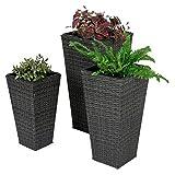 Vaso per fiori di alta qualità Set effetto rattan polyrattan grigio melange con inserto kunstoff H70cm/H60cm/H50cm
