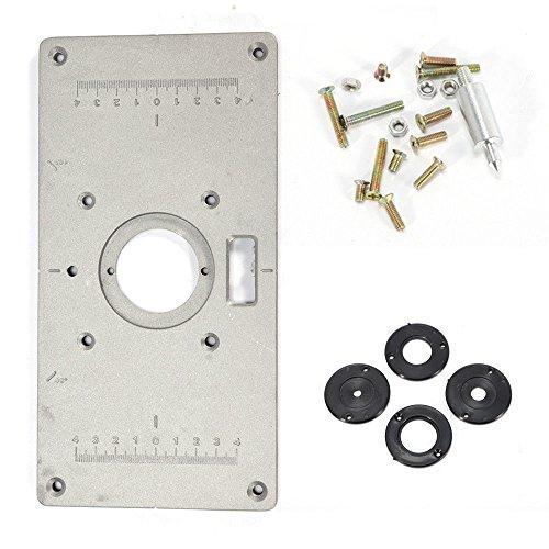 Router Platte LFJD Alu Einlegeplatte Befestigungsplatte für Oberfräse Frästisch Trimmer mit 4 Ringen und Schrauben