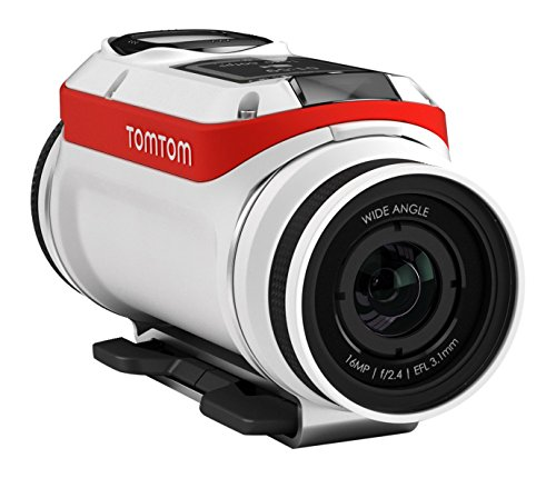 TomTom BV Bandit Action Camera Bike Pack, Video 4K, 16 MP, 1080p/60 fps, 720p/120 fps, GPS, Sensori Integrati, Wi-Fi, Impermeabile, Bianco/Rosso