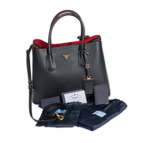 Prada Saffiano leder klein doppelt Schwarz Shopper (Handtasche Prada Logo)
