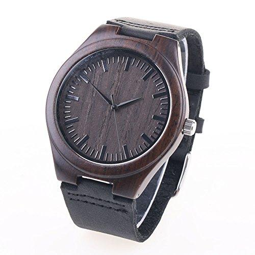 YUMOMO Bambus Holz Zifferblatt Uhren für Männer und Frauen Lederband