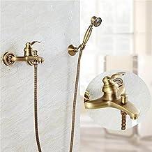 CivilWeaEU Antico Doccia rame semplice Set Retro rame Ascensore doccia Bagno pioggia doccia rubinetto