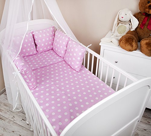 Baby esterni a nido letto con bordo 210 cm Design: a pois rosa letto Paracolpi con protezione rinforzata sugli angoli casco protettivo per arti marziali per bambini letto caratteristiche