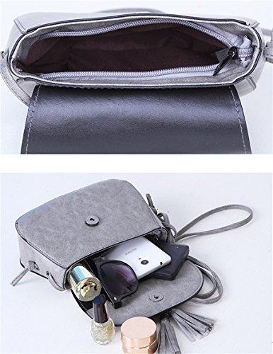 035924007ef30 ... Ammon Lowen Damen Umhängetasche Mini Kreuz Körper Frauen Handtasche  Bodybag Mini kleine Schale Taschen Grau
