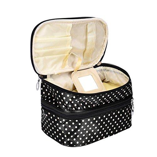 Tefamore Doppelstock-gezippt Gehäuse Kosmetik Tasche Portable Travel Kulturbeutel Veranstalter Inhaber Handtasche Square Punkt Drucken Make up Koffer (Schwarz)