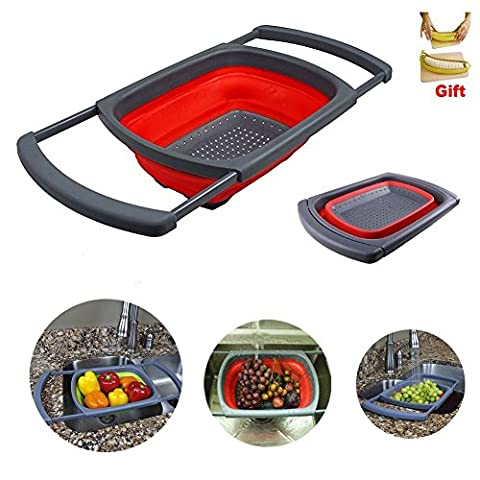 Silicone Collapsible Colander, 3.8L Kitchen Telescopic Draining Washing dishes Vegetable Sieves Strainers Tools by G.G.G.(red)