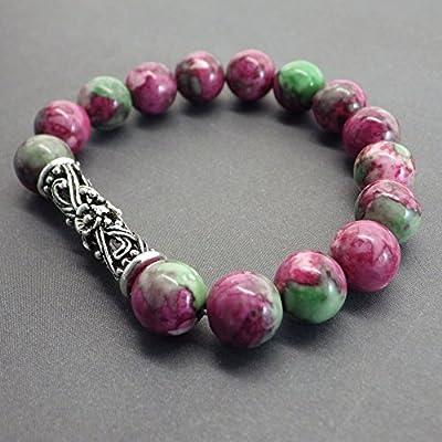 Bracelet pour femme en jade Océan vert et rouge perle centrale tibétaine en filigrane