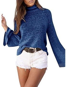 Azbro Mujer Suéter de Punto Cordón-arriba Trasero con Cuello Alto