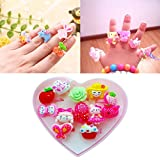 #9: Quvom Cute Cartoon Finger Rings for Girls Gifting 12 pcs Box
