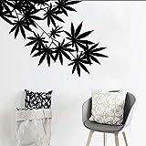 Ljtao Weed Baum Blatt Ahorn Hanf Blätter Vinyl Pflanze Wandaufkleber Für Kinderzimmer Wandkunst Aufkleber Wandbild Für Wohnzimmer Home Decor81X57Cm