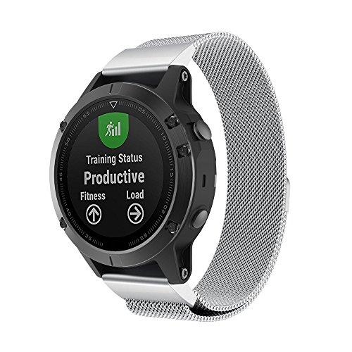 Huhu833 Edelstahl Armband für Garmin Fenix 5/5 Plus, Milanese Magnetic UhrBand Schnellinstallation Uhrenarmband Ersatzarmband Strap für Garmin Fenix 5/5 Plus GPS Uhr 6.69-10.63 Zoll (Silber)