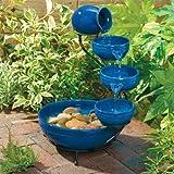 Sunny fountains P 004 C Solar-Kaskadenbrunnen Keramik blau