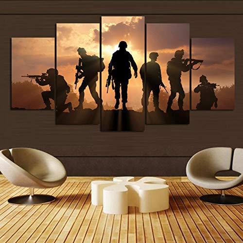 Wuwenw Leinwand Gemälde Wand Kunst Wohnkultur Tragen Soldat Sonnenuntergang Bilder Modulare Drucke Poster Wohnzimmer Rahmen-12X16/24/32Inch,Without Frame -