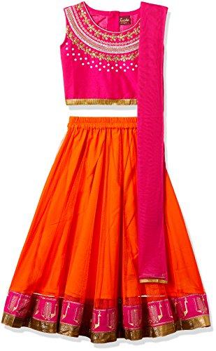 TWISHA Girls' Regular Fit Ghagra Choli (AW17-XP-GCH137-6yr_Pink and Orange)