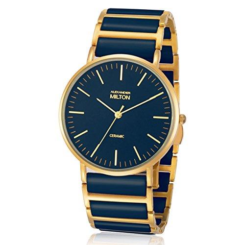 ALEXANDER MILTON - montre femme - CERES, bleu/dore