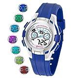 Reloj Niños Digital Deportivo con Pantalla 7 Colores Luz LED Relojes de Pulsera para Niñas Resistencia al Agua 30M Reloj Infantil Aprendizaje para Niños 4-15 años (Azul Oscuro)