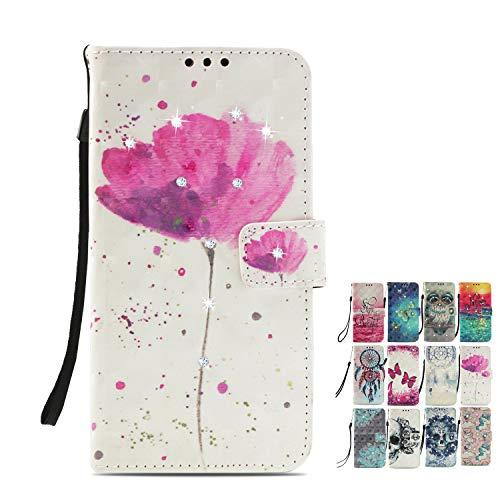 LA-Otter Kompatibel für Samsung Galaxy A6 2018 Hülle Glitzer Diamant Blume Rosa Leder Wallet Cover Tasche Handyhüllen mit Kartenfach Schutzhülle Flip Case