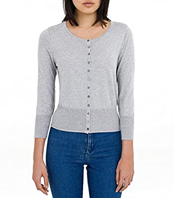 Wool Overs Women's Silk & Cotton Cropped Crew Cardigan