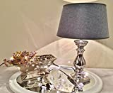 DRULINE Lovely Silber GRAU Tischlampe Lampe Tischleuchte Shabby Vintage Keramiklampe