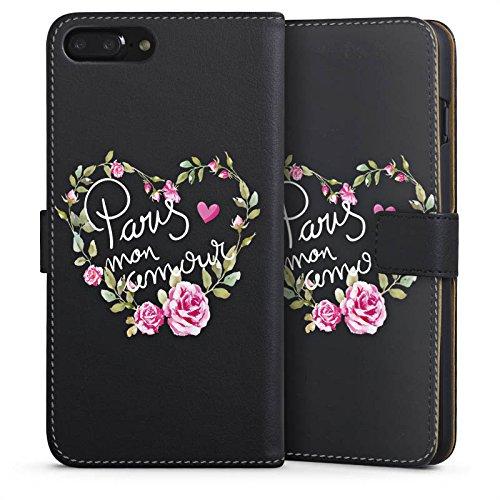 Apple iPhone 7 Silikon Hülle Case Schutzhülle Paris Mon Amour Spruch ohne Hintergrund Sideflip Tasche schwarz