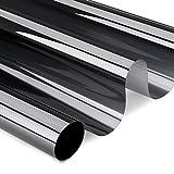 Hans-Shop schwarz Privatsphäre Spiegelfolie Sonnenschutzfolie Anti-UV Fensterfolie für Fenster UV-Schutzfolie Tönungsfolie 75cm x 300cm