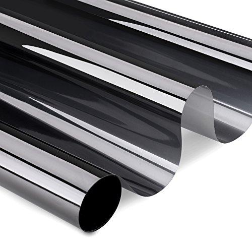 KINLO schwarz Privatsphäre Spiegelfolie Sonnenschutzfolie Anti-UV Fensterfolie für Fenster UV-Schutzfolie Tönungsfolie 75cm x 300cm