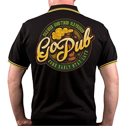 Männer und Herren POLO Shirt GO PUB (mit Rückendruck) schwarz/gelb s