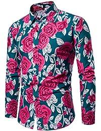 c593abf781 Camisas De Hombre Manga Larga Flores Camisas Estampadas Hombre Manga Larga  ❤️AIMEE7 Camisas Vintage Hombre