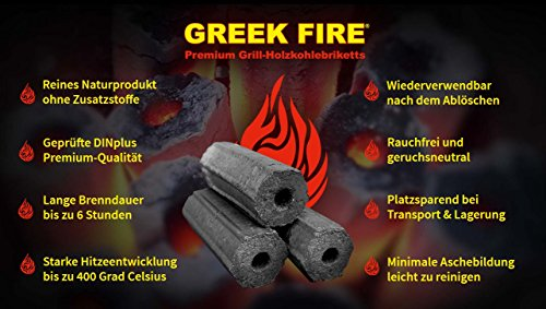10 Kg Greek Fire Profi Holzkohlebriketts