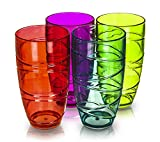 LIVIVO ® Set of 4 Colourful Hi Ball Plastic Acrylic Drink Tumblers with Swirl Design - Pack Includes Green, Blue, Pink and Red 700ml Stackable Glasses - Great for Picnics, BBQ's, Poolside, Camping, Children's Parties or Just Everyday Use - Lightweight, Stackable, Washable, and Easy to Clean (Colour)