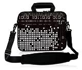 Luxburg® design housse sacoche pochette en néoprène avec bandoulière et pochette pour ordinateur portable 15,6 pouces, motif: binaire