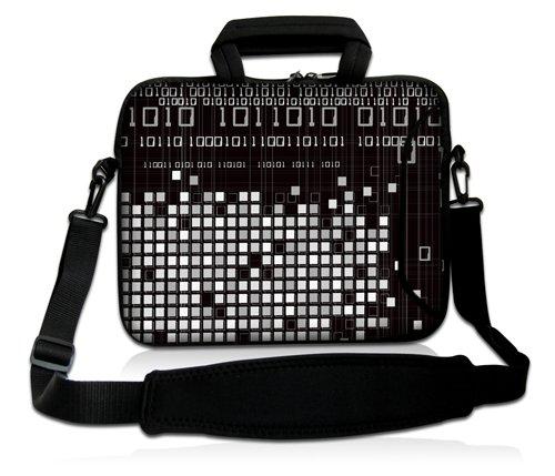 Luxburg® Design Laptoptasche Notebooktasche Sleeve mit Schultergurt und Fach für 17,3 Zoll, Motiv: Binärzahlen