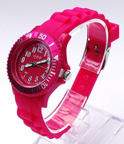 Mdchen/Kinder Silikon Gummi Strap Armbanduhr Pink Kinder size-qbd