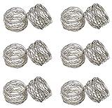 SKAVIJ Runde Mesh Serviettenringe Set von 12 Silber für Hochzeits Bankett Abendessen Dekoration