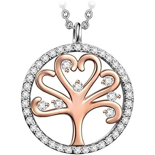 ofertas para el dia de la madre PAULINE & MORGEN Collar de Árbol de la vida para mujer con cristal de SWAROVSKI, viene en caja de regalo de joyería, prueba de SGS aprobada por níquel, 45 + 5 cm