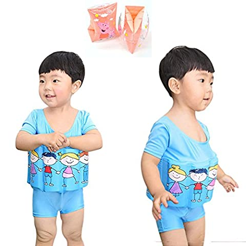 Deylay Enfant d'apprentissage gratuit de la natation Float Suit réglable protection solaire UV Maillot de bain pour garçons avec des bandes de bras, 2-3
