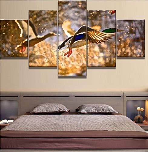 tapssss Neue 5 Stück Leinwand Kunst Ente Jagd Sonnenuntergang Moderne Dekorative Gemälde auf Leinwand Wandkunst für Hauptdekorationen Wanddekor-30x40cmx2 30x60cmx2 30x80cmx1 -