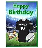 Rugby-Shirt Geburtstagskarte–Gehen mit Angeln Farben–Personalisiert mit Name und Nummer