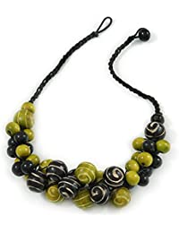 Avalaya Black/Lime Green Cluster Wood Bead With Black Cord Necklace - 54cm L