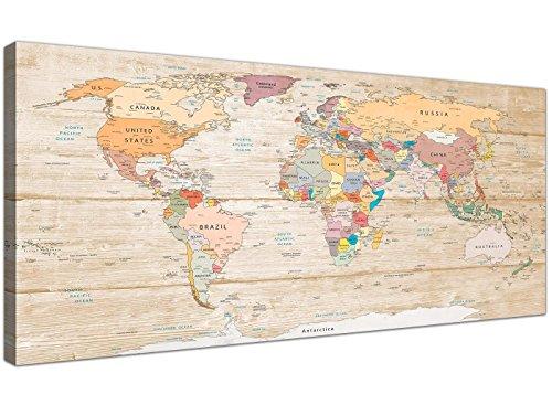 Cuadro de lienzo Wallfillers con gran mapa del mundo, colores crema, moderno, 120cm de ancho–1314