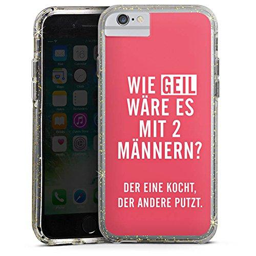 Apple iPhone 6 Bumper Hülle Bumper Case Glitzer Hülle Frauen Humor Phrases Bumper Case Glitzer gold