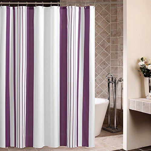 rideau de douche Rideau de douche, style européen, polyester épais, étanche et moisissure, rayures verticales violettes, rideau de cloisonnement (180 * 180cm)
