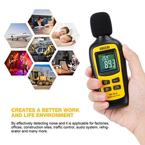 URCERI Schallpegelmessgerät - Digital Sound Level Meter Lärm-/ db-Messgerät mit Messbereich 35dB - 135dB, Max / Min / Haltedaten, Temperaturmesser und LCD-Display, inkl. Batterie - 8